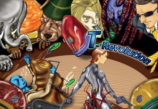 Copertina T-Revolution, ambientazione di fantascienza