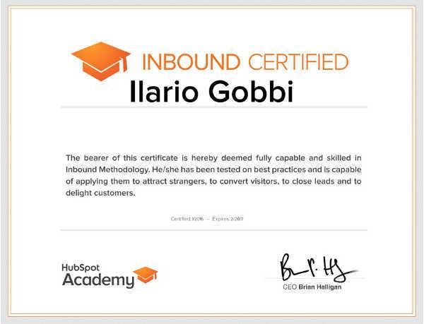 Certificazioni corsi SEO Ilario Gobbi