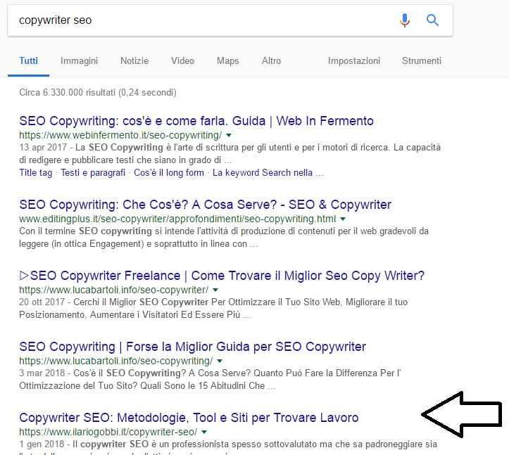 Copywriter SEO - Esempio di posizionamento
