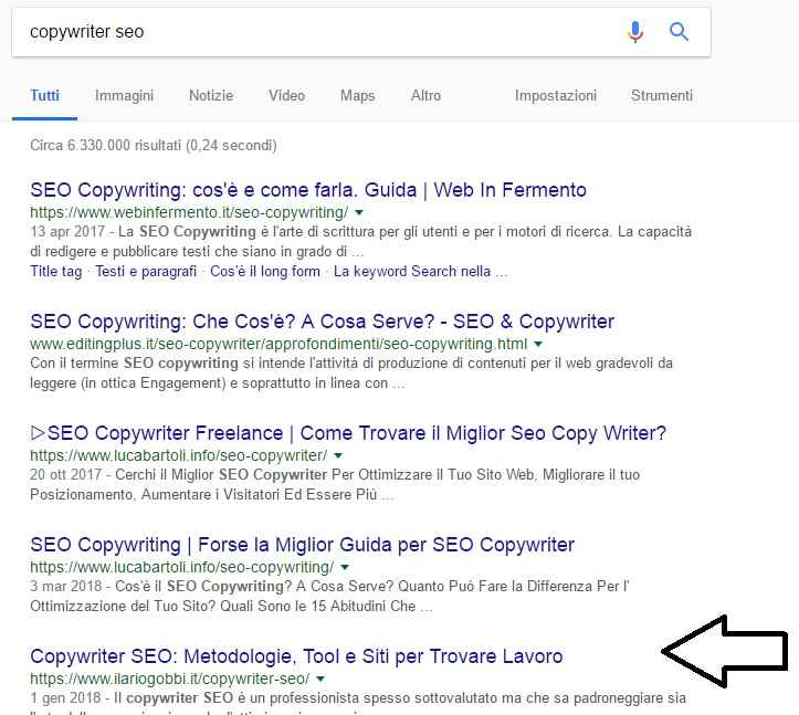Copywriter SEO - Esempio di… <a href=