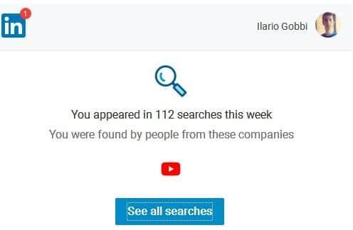 LinkedIn e parole chiave, esempio ricerche Ilario Gobbi