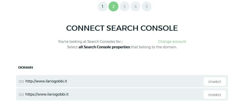 Keyword Hero - Scegliere proprietà di Search Console