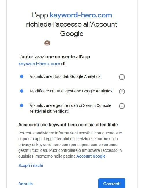 Keyword Hero - Accedi con Google Analytics