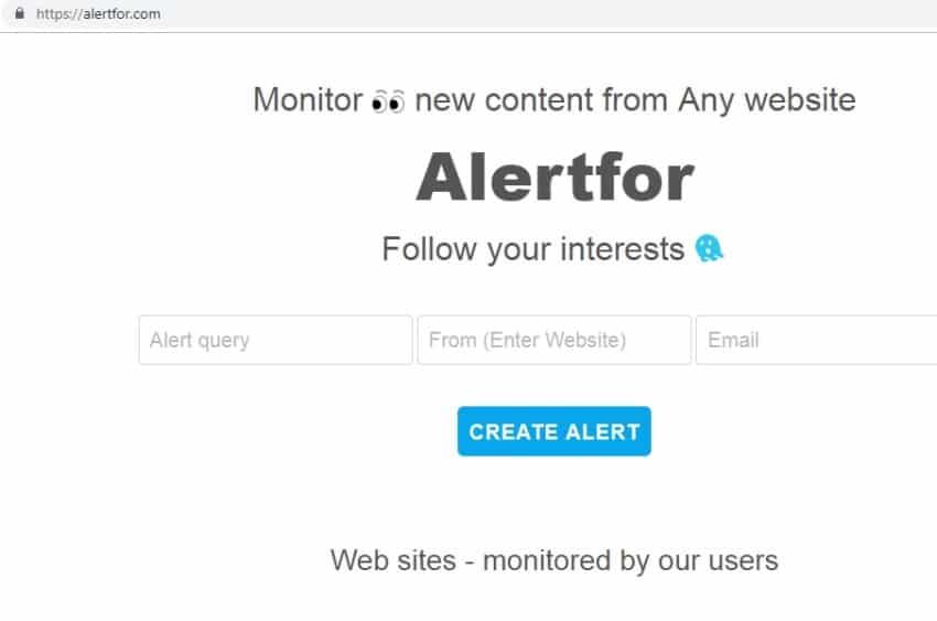 Alertfor tool monitoraggio competitor