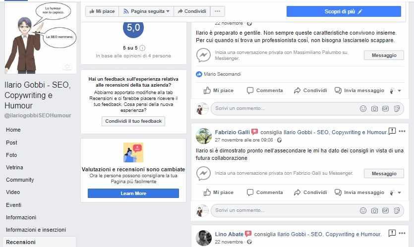 Recensione pagina Facebook Ilario Gobbi