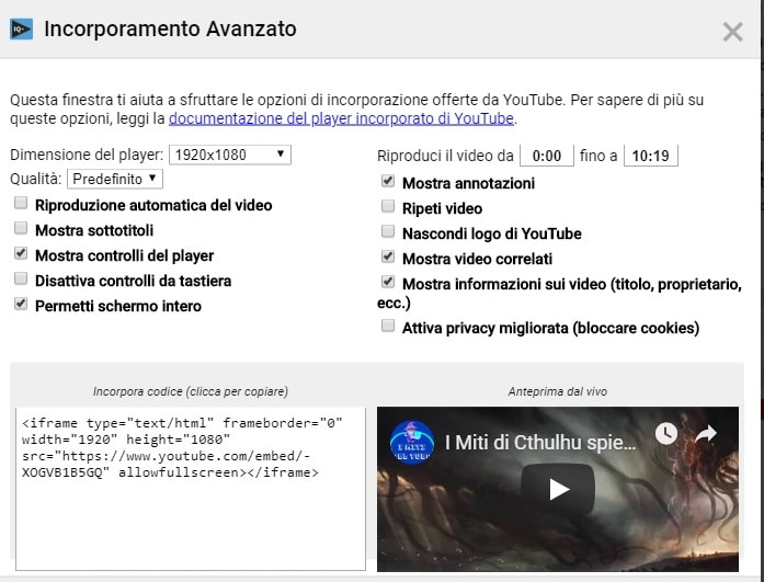 Attivare incorporamento video avanzato Youtube