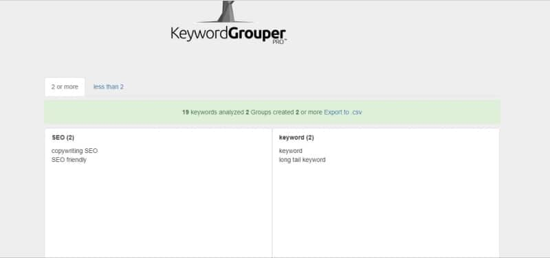 Keyword Grouper Pro lista keyword