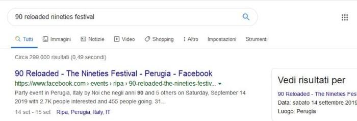 Eventi da Facebook in serp