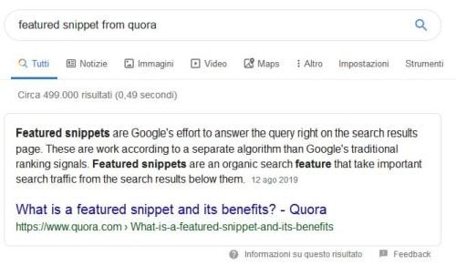 Featured snippet da Quora
