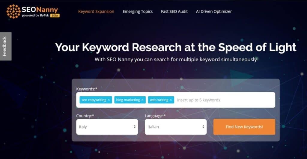SEONanny - Tool per la keyword research